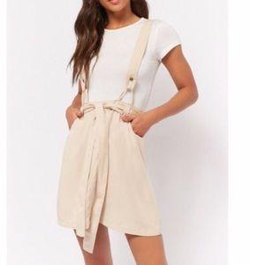 Tie front suspender skirt